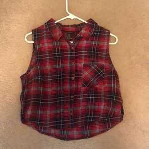 Plaid Cropped Button Up Muscle Shirt